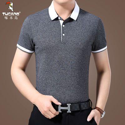 啄木鸟短袖T恤男士夏季新款修身POLO衫中年翻领棉商务休闲T恤衫