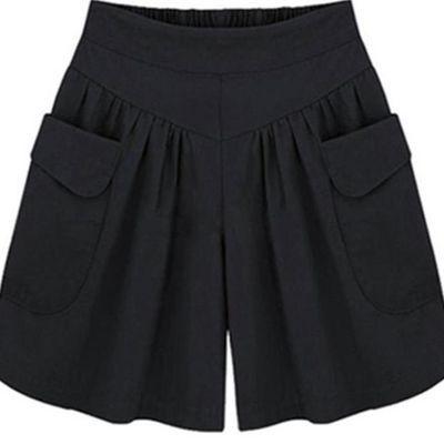 新品女宽松四分裤大裤衩妈妈短款阔腿短裤女士胖MM裙裤200斤宽松