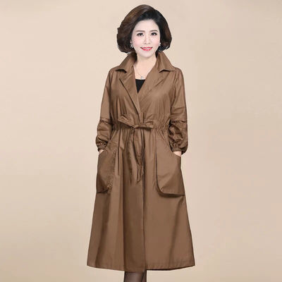 22724/【带里布】中老年女装风衣女春秋大码百搭长款妈妈装新款外套上衣