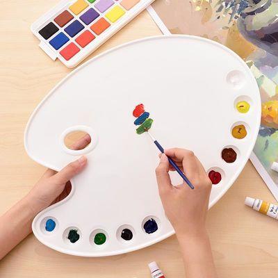 12格三线水粉调色盘防色漏颜料盒大号椭圆调色板学生美术三线