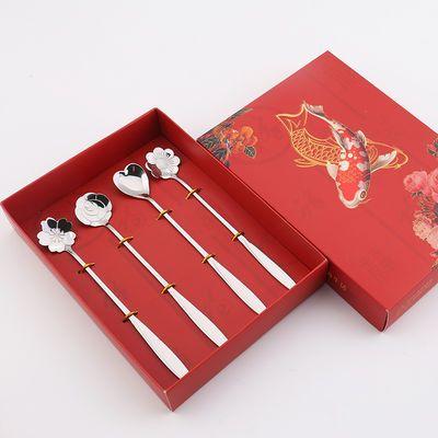 网红樱花勺子个性创意日式可爱长柄搅拌勺不锈钢小花瓣咖啡勺子