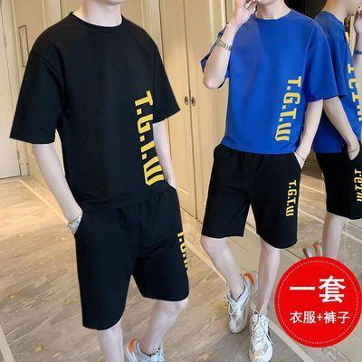 男士夏季短袖t恤一套装韩版潮流男装搭配运动休闲帅气短裤子夏装