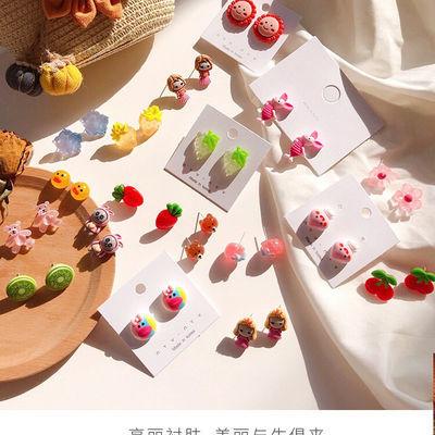 【2对装】925银针韩国ing简约甜美卡通水果花朵耳钉可爱童趣耳环