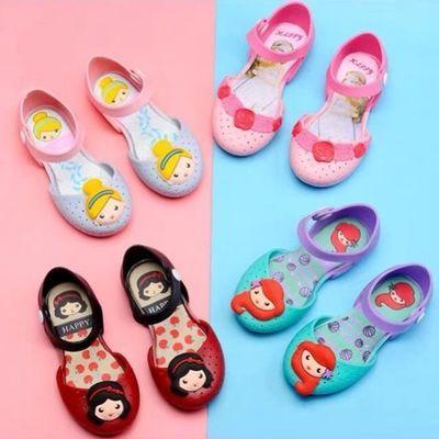 儿童凉鞋女果冻鞋软底公主鞋宝宝洞洞包头女童凉鞋新芭蕾舞水晶鞋