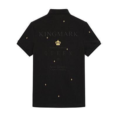 太平鸟男装 黑色时尚刺绣点缀短袖POLO衫男士青年商务休闲翻领T恤