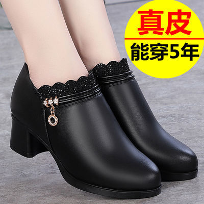 【高品质】妈妈鞋单鞋真皮靴子中跟粗跟圆头春秋中老年短靴皮鞋女