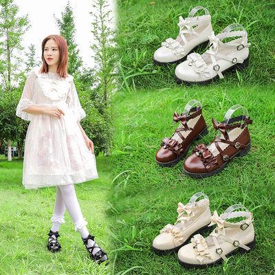原创新款日系可爱小皮鞋lolita鞋低跟圆头浅口软妹洛丽塔鞋学生鞋