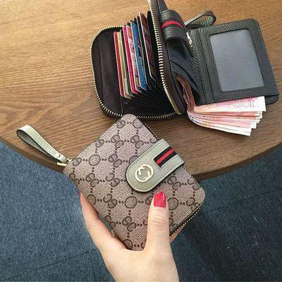 欧美大牌小钱包男女短款多卡位卡包一体印花复古拉链钱夹搭扣皮夹