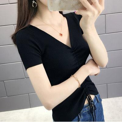 冰丝t恤女V领针织衫韩版抽绳短袖露脐修身百搭女学生夏季女装上衣