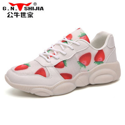 公牛世家草莓小熊鞋女2020夏款透气老爹鞋休闲跑步运动鞋865DD