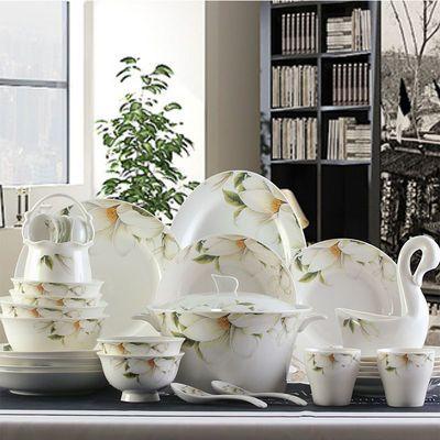 景德镇家用陶瓷餐具骨瓷碗碟碗盘组合高脚碗防烫碗面碗大汤碗套装