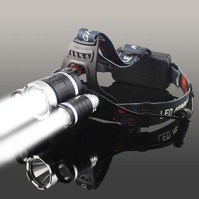 LED三头头灯强光可充电感应夜钓捕鱼灯远射超亮头戴式矿灯手电筒