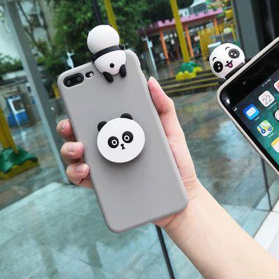 卡通趴趴熊猫苹果Xsmax手机壳iphone6/7女8plus潮XR保护套支架软S