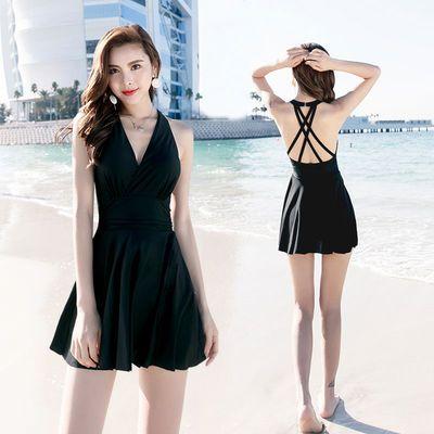 泳衣女泡温泉保守显瘦遮肚性感韩国2019新款连体裙式大码女士泳装