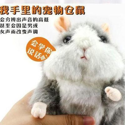 仓鼠土拨鼠毛绒玩具复读会学说话录音学舌小玩偶公仔发声可爱娃娃主图