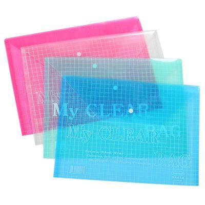 装】A4文件袋学生试卷袋彩色透明按扣公文袋资料袋塑料档案【十个