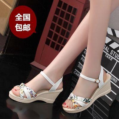 凉鞋女夏2019新款韩版厚底高跟防水台底鱼嘴坡跟一字扣女凉鞋子