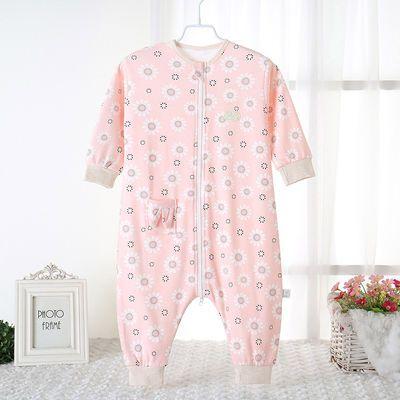 分腿防踢被空调房儿童春秋薄款宝宝连体睡衣婴儿纯棉睡袋夏季
