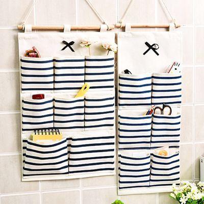 挂门挂袋萌蒂家居【送挂钩】限时亏本300件棉麻布艺收纳袋墙上壁