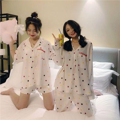 韩版春夏睡衣套装女学生新款短袖宽松甜美可爱冰丝ins网红两件套