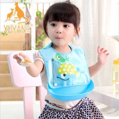 月结晶宝宝吃饭围兜食饭兜防水婴儿童小孩硅胶围嘴喂饭衣兜大号