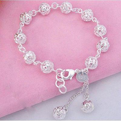 s925纯银手链女学生韩版送礼物适合情侣时尚转运珠银饰品可爱手镯