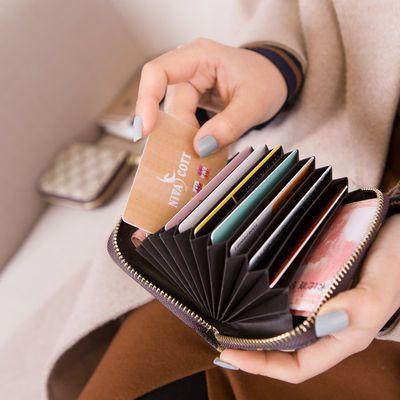 夹零钱包男士证件皮套2018新款小卡包女式多功能风琴卡片包女士卡【3月30日发完】