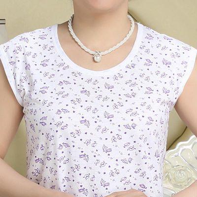 夏季纯色内衣短袖T恤女士大码汗衫中老年老人纯棉圆领文化衫eb