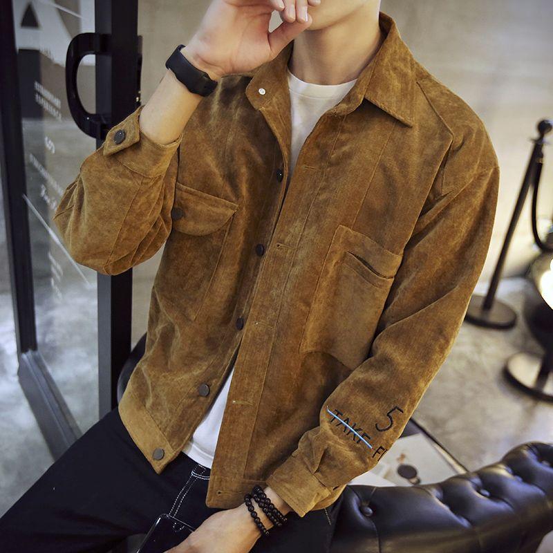 热卖新款外套男款男士夹克衫2021新款春季潮流帅气宽松工装牛仔春
