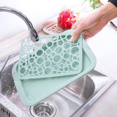 创意双层塑料水杯沥水盘家用长方形水果盘客厅水杯杯子托盘茶盘