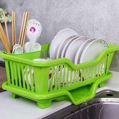 家用厨房架储物箱放碗盘餐碗柜塑料带盖沥水碗具碗筷收纳盒置物架