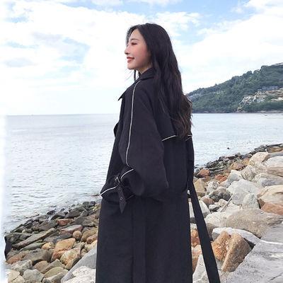 chic黑色系风衣外套女2020新款学生长款过膝宽松小个子双排扣大衣