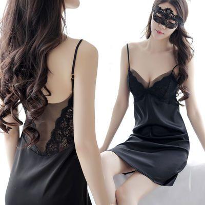 性感睡裙女夏薄款蕾丝仿冰丝吊带胸垫睡衣诱惑大码床上情趣家居服