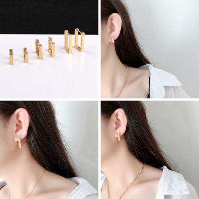 韩版时尚简约个性长方形小耳扣女 镀14K玫瑰金钛钢耳环耳坠不掉色