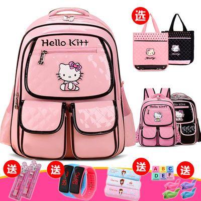 韩版小学生PU书包KT儿童卡通女生1-3-5-6年级女孩减负双肩背包