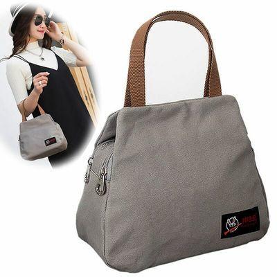 品牌帆布包女双拉链手提包简约文艺清新小布包帆布手拎包手提包女