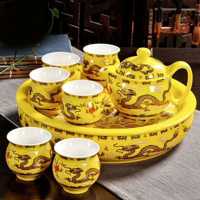 【万庆兴】茶具套装整套家用双层隔热茶壶茶杯陶瓷功夫茶具带茶盘
