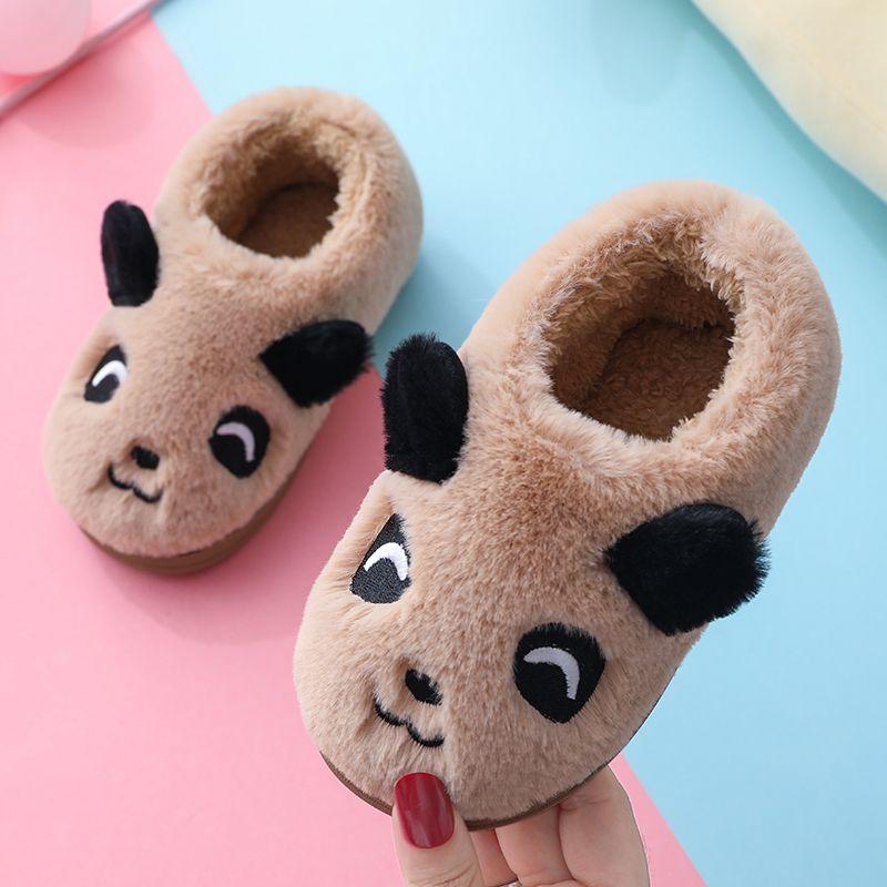 亲子儿童棉拖鞋男女中小童情侣冬季保暖室内卡通可爱包跟棉鞋防滑