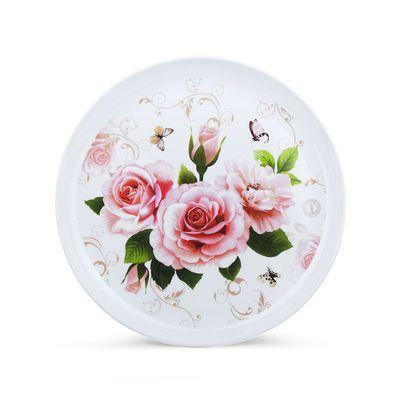 买一送一圆形密胺托盘茶盘水杯托盘水果盘水壶酒店宾馆塑料托盘