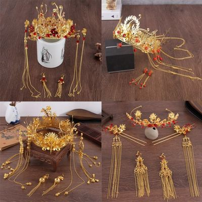 金色圆冠中式古装头饰秀禾和服凤冠新娘发箍长流苏结婚礼服发饰品