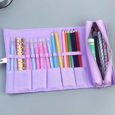 美少女彩色圆柱体初一日式小学生男女儿童文具盒铅笔盒笔袋十二3d