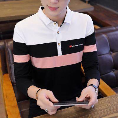 95%棉秋季男士长袖T恤韩版修身翻领POLO衫男装立领上衣青年打底衫