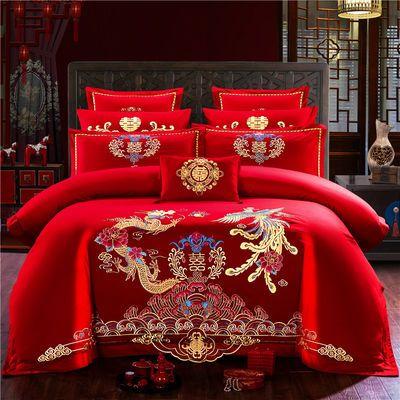 维科正品婚庆四件套大红纯棉结婚床单被套全棉床上用品床罩网红