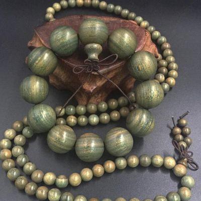 天然正宗绿檀木佛珠手串转运辟邪檀香木手链男女士款饰品情侣佛珠