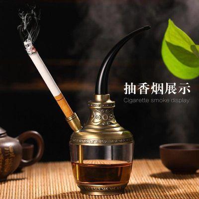 高档水烟筒水烟斗全套装两用玻璃烟锅老式水烟壶烟丝烟袋过滤烟嘴