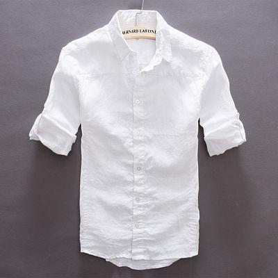 夏季防晒白色清新小翻领长袖纯亚麻衬衫男士休闲修身棉麻衬衣男装