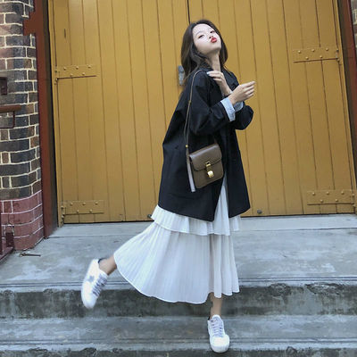 14549/西装外套女春秋新款韩版女学生中长款休闲百搭宽松小西服外套ins