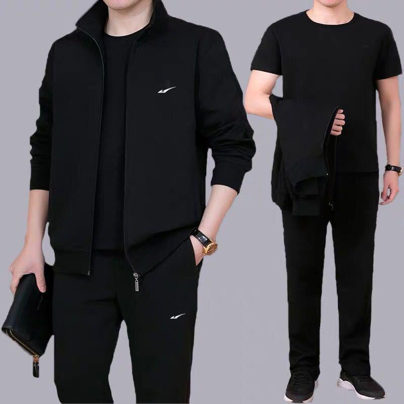 热卖新款两三件套运动套装男士中老年卫衣运动服外套休闲套装春秋