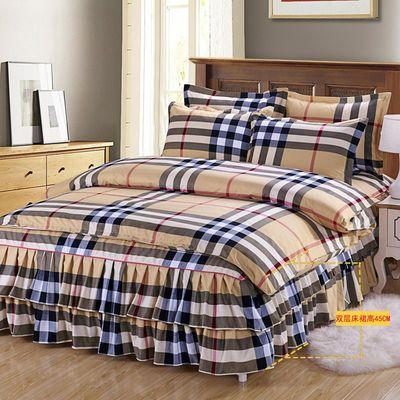 双层磨毛床裙床罩四件套床罩加厚婚庆床上用品比纯棉全棉亲肤