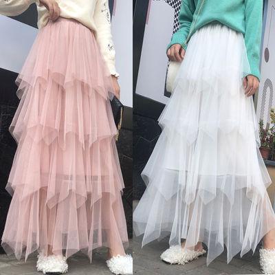 66643/秋冬2019新款中长款很仙的网纱蛋糕裙不规则高腰半身裙女装裙子潮